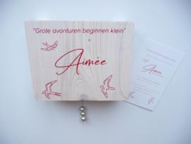 Muziekdoosje steigerhout kinderkamer van  geboortekaartje kraamkado