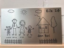 Naambord gezin voordeur eigen ontwerp