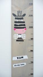 Groeimeter met naam grappige zebra met strik