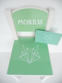 Geboortestoeltje van het geboortekaartje kraamcadeau Morris