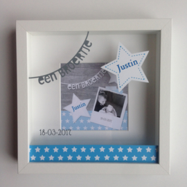 Kraamkado geboorte 3D lijst op basis van het geboortekaartje Justin