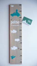 Groeimeter voor Jelte van zijn geboortekaartje persoonlijk kraamkado