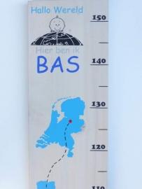 Groeimeter met naam wereld met ooievaar