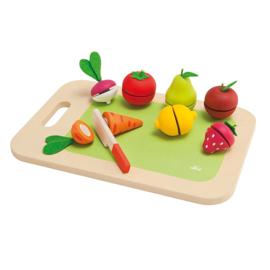 Houten snijplank groente fruit