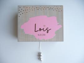 Muziekdoosje steigerhout kinderkamer van  geboortekaartje kraamcadeau