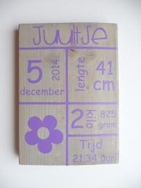 Geboortebord met geboortegegevens tekstblokken bloem