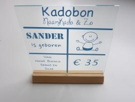 Kadobon gepersonaliseerde glasplaat met houder inclusief verzenden