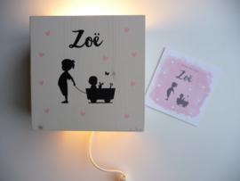 Lamp van het geboortekaartje gepersonaliseerd cadeau Zoe