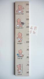 Groeimeter  van geboortekaartje kraamcadeau Stijn