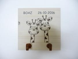 Kapstok van het geboortekaartje Boaz