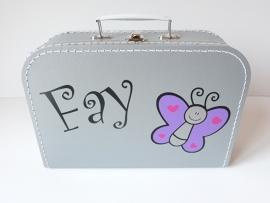 Koffertje met naam vlinder