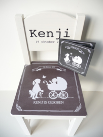 Uniek kraamcadeau geboortestoeltje met geboortekaartje Kenji