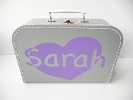 Koffertje met naam door hart
