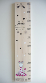 Persoonlijk cadeau babykamer met naam groeimeter van geboortekaartje