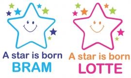 Geboortesticker vrolijke ster