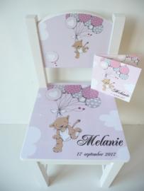 Uniek kraamcadeau geboortestoeltje met geboortekaartje Melanie