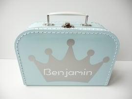 Koffertje met naam kroon jongen