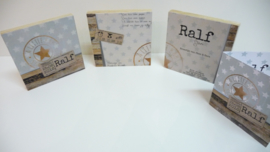 Geboortekaartje op hout kraamcadeau Ralf
