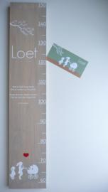 Groeimeter  hout van geboortekaartje kraamkado Loet