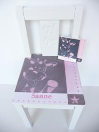 Geboortestoeltje met geboortekaartje Sanne