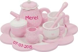 Little dutch servies roze met naam en geboortedatum