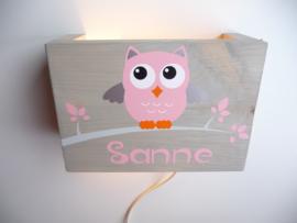 Lamp met naam uil oud roze meisje roze blaadjes