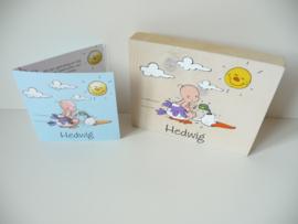 Geboortekaartje op hout kraamcadeau Hedwig