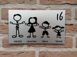 Naambord voordeur Gezin (elke gezinssamenstelling is mogelijk)