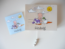Muziekdoosje voor Hedwig op basis van haar geboortekaartje