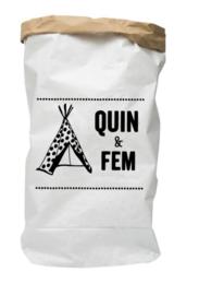 Paperbag van geboortekaartje Quin en Fem persoonlijk kraamcadeau