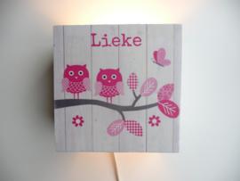 Lamp van het geboortekaartje Lieke kraamcadeau