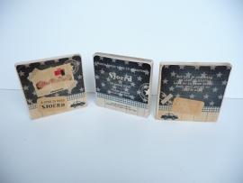 Origineel kraamcadeau geboortekaartje op hout 3 luik (houtblokken)