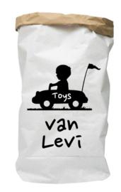 Paperbag met naam toys auto