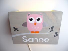 Lamp met naam uil oud roze meisje grijze blaadjes