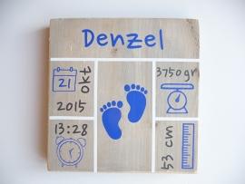 Geboortebord met geboortegegevens blokken vierkant jongen