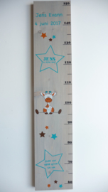 Groeimeter  van geboortekaartje kraamcadeau Jens