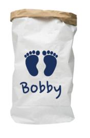 Paperbag met naam voetjes