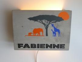 Lamp met naam olifant en giraf