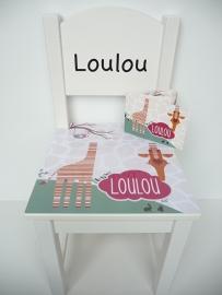 Geboortestoeltje met het geboortekaartje kraamcadeau LouLou
