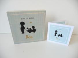gepersonaliseerd cadeau geboortekaartje op steigerhout (houtblok) Dex