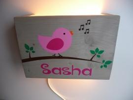 Lamp met naam vogel meisje