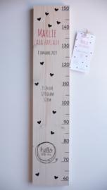 Groeimeter  hout van geboortekaartje kraamcadeau