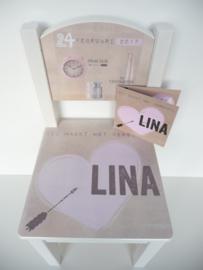 Geboortestoeltje van het geboortekaartje Lina kraamkado