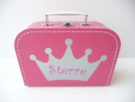 Koffertje met naam kroon meisje