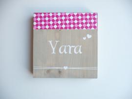 Geboortebord hout kraamcadeau Yara