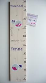 persoonlijk groeimeter  steigerhout babykamer van geboortekaartje Fenne