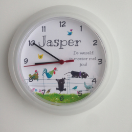Persoonlijk kraamcadeau geboorteklok op basis van het geboortekaartje Jasper