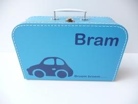 Koffertje met naam auto broem broem