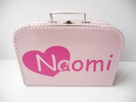 Koffertje met naam hart beginletter