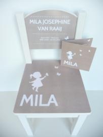 Geboortestoeltje met geboortekaartje Mila